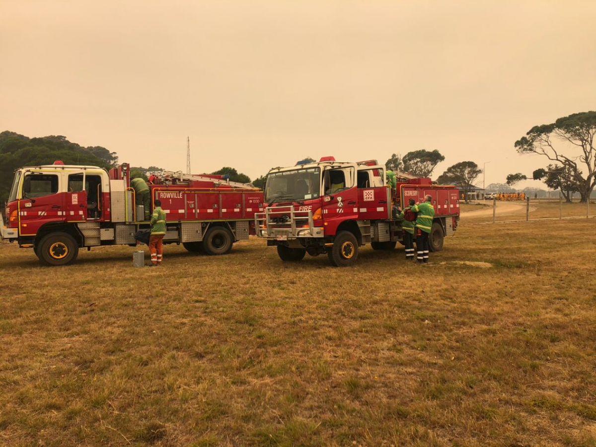 CFA fire trucks in the fire-affected Mallacoota