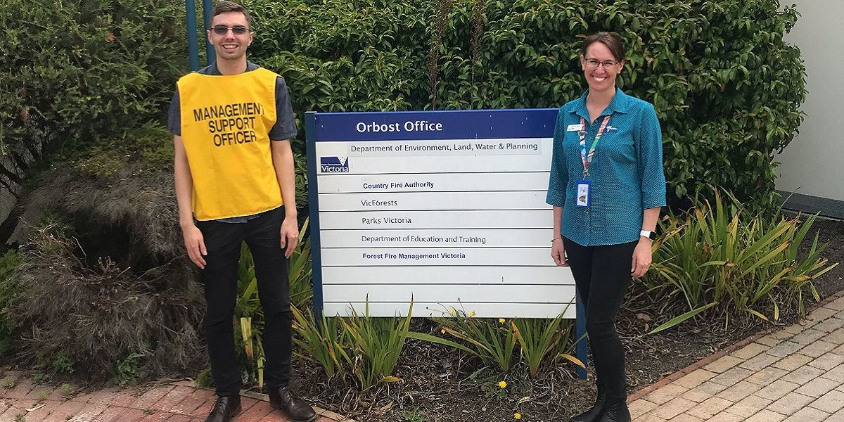 Paul and colleague outside the Orbost office